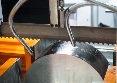 band saw cutting steel bar
